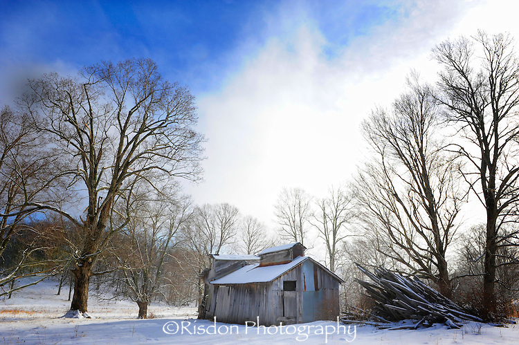 Old sugar house in winter