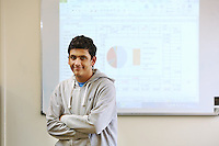 Pictured: Omar at the Accounts Class, The Parade Campus, Cardiff, south Wales. Wednesday 08 October 2014<br />