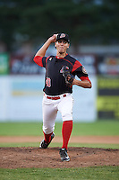 Batavia Muckdogs relief pitcher Parker Bugg (40) delivers a pitch during a game against the State College Spikes on June 24, 2016 at Dwyer Stadium in Batavia, New York.  State College defeated Batavia 10-3.  (Mike Janes/Four Seam Images)