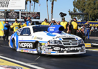 Feb. 22, 2013; Chandler, AZ, USA; NHRA pro stock driver Allen Johnson during qualifying for the Arizona Nationals at Firebird International Raceway. Mandatory Credit: Mark J. Rebilas-