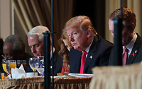 February 7, 2019 - Washington, DC, United States: US President Donald J. Trump attends the 2019 National Prayer Breakfast at the Washington Hilton Hotel in Washington, DC on Thursday, February 7, 2019. <br /> CAP/MPI/RS<br /> ©RS/MPI/Capital Pictures