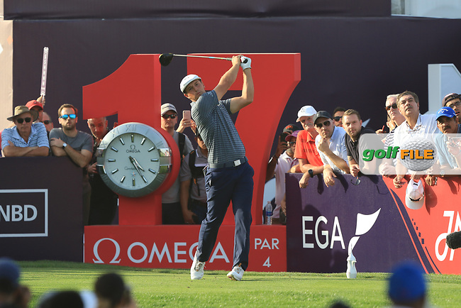 Bryson Dechambeau (USA) on the 17th tee during Round 4 of the Omega Dubai Desert Classic, Emirates Golf Club, Dubai,  United Arab Emirates. 27/01/2019<br /> Picture: Golffile | Thos Caffrey<br /> <br /> <br /> All photo usage must carry mandatory copyright credit (© Golffile | Thos Caffrey)
