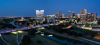 Fort Worth Skyline pano at twilight with the 7th street bridge over the Trinity River in downtown part of the city. Love the purple lights on the seventh street bridge which connects the University area with the downtown across the Trinity River. Fort Worth is the fifth largest city in Texas. Ft Worth is located in central north part of Texas and the county seat is Tarrant County. The latest census is that the population for Fort Worth is estimates, at around 854,113. The city is the second-largest in the Dallas–Fort Worth–Arlington metropolitan area or the DFW Metro