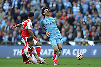 Manchester City's Leroy Sane is stopped in his tracks<br /> <br /> Photographer Rob Newell/CameraSport<br /> <br /> The Emirates FA Cup Semi-Final - Arsenal v Manchester City - Sunday 23rd April 2017 - Wembley Stadium - London<br />  <br /> World Copyright &copy; 2017 CameraSport. All rights reserved. 43 Linden Ave. Countesthorpe. Leicester. England. LE8 5PG - Tel: +44 (0) 116 277 4147 - admin@camerasport.com - www.camerasport.com