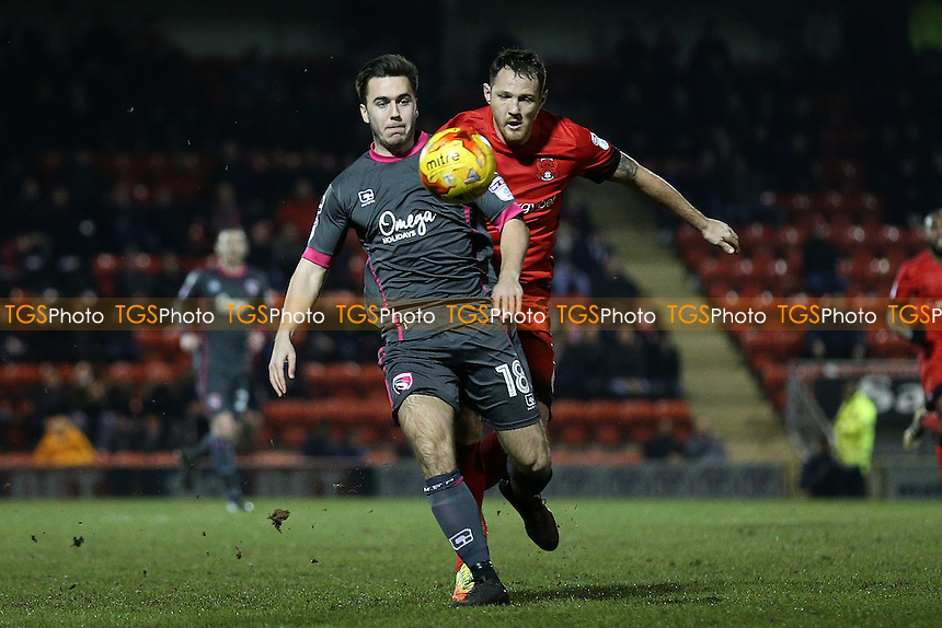 Rhys Turner of Morecambe and Tom Parkes of Leyton Orient during Leyton Orient vs Morecambe, Sky Bet EFL League 2 Football at the Matchroom Stadium on 7th February 2017