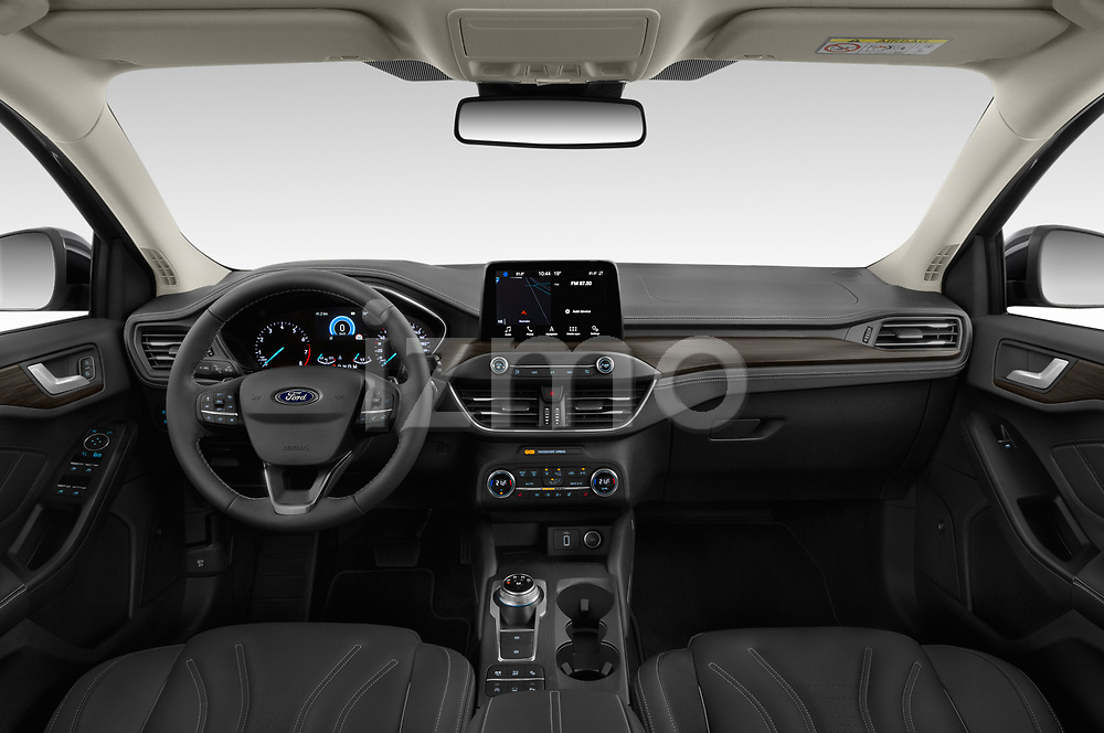 Stock photo of straight dashboard view of a 2019 Ford Focus-Clipper Vignale 5 Door Wagon