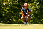 STILLWATER, OK - MAY 21: Bianca Pagdanganan of Arizona checks her notes before putting during the Division I Women's Golf Individual Championship held at the Karsten Creek Golf Club on May 21, 2018 in Stillwater, Oklahoma. (Photo by Shane Bevel/NCAA Photos via Getty Images)
