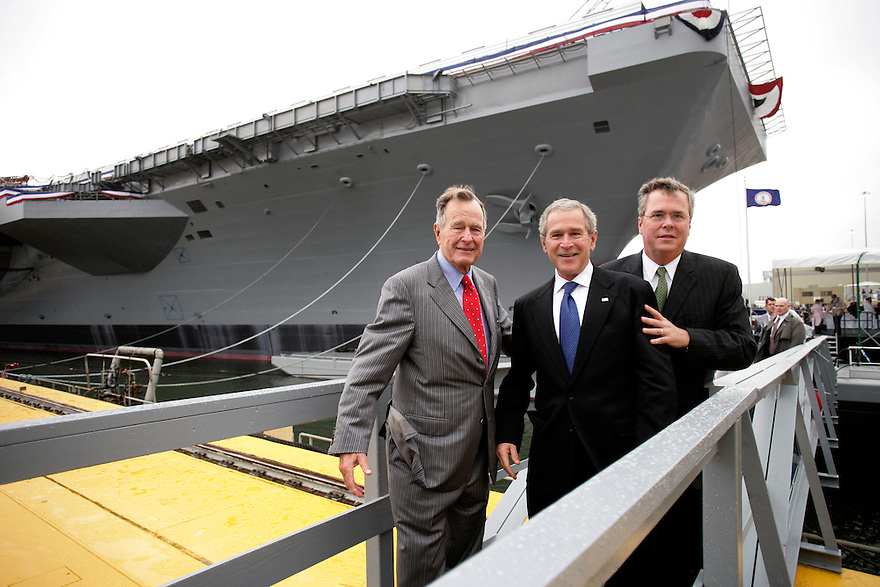 U.S. President George W. Bush and Former president George H. W. Bush attend  the christening ceremony of the USS George H.W. Bush at Northrop-Grumman's shipyard in Norfolk News, Virginia.
