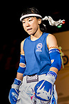 Kim Heejung (Blue) of South Korea enters to the ring prior  the female muay 54KG division weight bout against Wong She Ki (Not in picture) of Hong Kong during the East Asian Muaythai Championships 2017 at the Queen Elizabeth Stadium on 12 August 2017, in Hong Kong, China. Photo by Yu Chun Christopher Wong / Power Sport Images