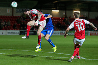 Fleetwood Town's Aiden O'Neill heads at goal <br /> <br /> Photographer Andrew Kearns/CameraSport<br /> <br /> The Carabao Cup First Round - Fleetwood Town v Carlisle United Kingdom - Tuesday 8th August 2017 - Highbury Stadium - Fleetwood<br />  <br /> World Copyright &copy; 2017 CameraSport. All rights reserved. 43 Linden Ave. Countesthorpe. Leicester. England. LE8 5PG - Tel: +44 (0) 116 277 4147 - admin@camerasport.com - www.camerasport.com