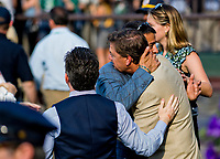 ELMONT, NY - JUNE 10: Part-Ower Sol Kumin hugs Trainer Grahm Motion on Belmont Stakes Day at Belmont Park on June 10, 2017 in Elmont, New York (Photo by Scott Serio/Eclipse Sportswire/Getty Images)