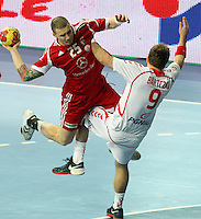 21.01.2013 Barcelona, Spain. IHF men's world championship, Eighth Final. Picture show Zabai  in action during game Hungary vs Poland at Palau St Jordi