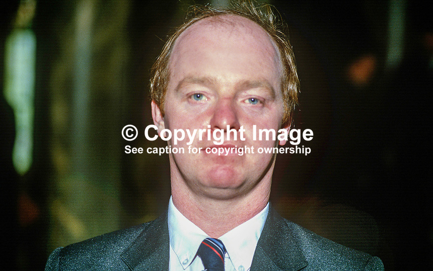 Jim Walker, councillor, Democratic Unionist Party, Belfast, N Ireland, 19850507JW1..Copyright Image from Victor Patterson, 54 Dorchester Park, Belfast, UK, BT9 6RJ..Tel: +44 28 9066 1296.Mob: +44 7802 353836.Voicemail +44 20 8816 7153.Skype: victorpattersonbelfast.Email: victorpatterson@me.com.Email: victorpatterson@ireland.com (back-up)..IMPORTANT: If you wish to use this image or any other of my images please go to www.victorpatterson.com and click on the Terms & Conditions. Then contact me by email or phone with the reference number(s) of the image(s) concerned.