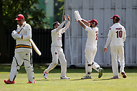 Barking celebrate their seventh wicket during Barking CC (fielding) vs Redbridge CC, Essex County League Cricket at Mayesbrook Park on 25th May 2019