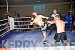 Andrej Cel (left) of the Champion Thai boxing club, Tralee fighting Pierce McManus of the Galway kickboxing club at the Night of Champions at the Brandon hotel, Tralee on Saturday.