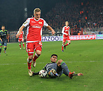 08.03.2019, Stadion an der Wuhlheide, Berlin, GER, 2.FBL, 1.FC UNION BERLIN  VS. FC Ingolstadt 04, <br /> DFL  regulations prohibit any use of photographs as image sequences and/or quasi-video<br /> im Bild f&uuml;hrt zum 11m, Felix Kroos (1.FC Union Berlin #23), Almog Cohen (FC Ingolstadt #8)  <br /> <br /> <br />      <br /> Foto &copy; nordphoto / Engler