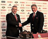 Lions 2013. British & Irish Lions 2013 Head Coach Warren Gatland welcomed by Tour Manager Andy Irvine during The 2013 British & Irish Lions Head Coach Press conference held at  Ironmonger's Hall, Shaftesbury Place, London, England on 4th September 2012
