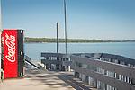 Traverse City Park bench, beach and Lake Michigan. East Arm Bay.