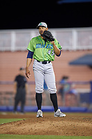 Lynchburg Hillcats relief pitcher Dalbert Siri (45) waits to receive the ball back during a game against the Salem Red Sox on May 10, 2018 at Haley Toyota Field in Salem, Virginia.  Lynchburg defeated Salem 11-5.  (Mike Janes/Four Seam Images)