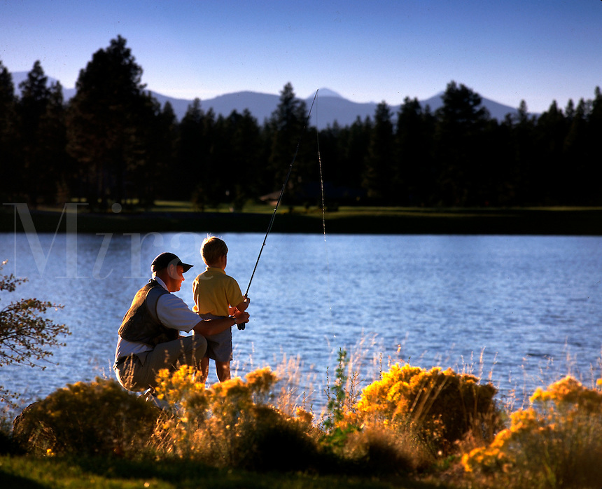 A father and son fishing.