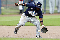 10 September 2011: Mervin Gario of Vaessen Pioniers eyes the ball during game 4 of the 2011 Holland Series won 6-2 by L&D Amsterdam Pirates over Vaessen Pioniers, in Amsterdam, Netherlands.