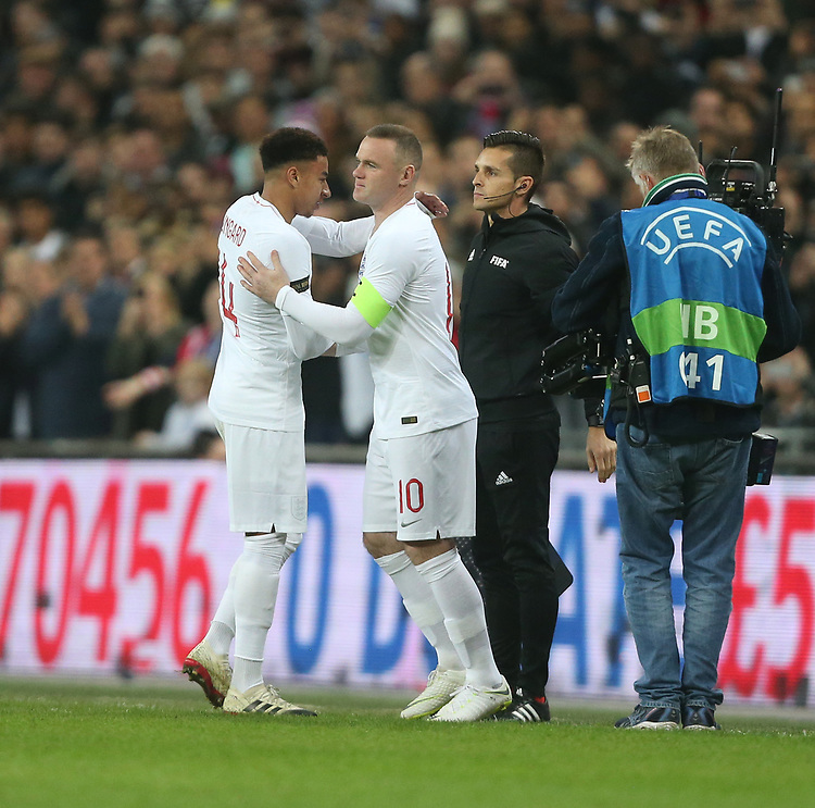 England's Wayne Rooney enters the game coming on for Jesse Lingard<br /> <br /> Photographer Rob Newell/CameraSport<br /> <br /> The Wayne Rooney Foundation International - England v United States - Thursday 15th November 2018 - Wembley Stadium - London<br /> <br /> World Copyright © 2018 CameraSport. All rights reserved. 43 Linden Ave. Countesthorpe. Leicester. England. LE8 5PG - Tel: +44 (0) 116 277 4147 - admin@camerasport.com - www.camerasport.com