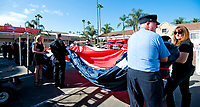DEL MAR, CA - NOVEMBER 04: The American Flag is carried out for the National Anthem Day 2 of the 2017 Breeders' Cup World Championships at Del Mar Racing Club on November 4, 2017 in Del Mar, California. (Photo by Anna Purdy/Eclipse Sportswire/Breeders Cup)