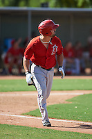 Los Angeles Angels Michael Strentz (25) during an instructional league game against the Texas Rangers on October 5, 2015 at the Surprise Stadium Training Complex in Surprise, Arizona.  (Mike Janes/Four Seam Images)