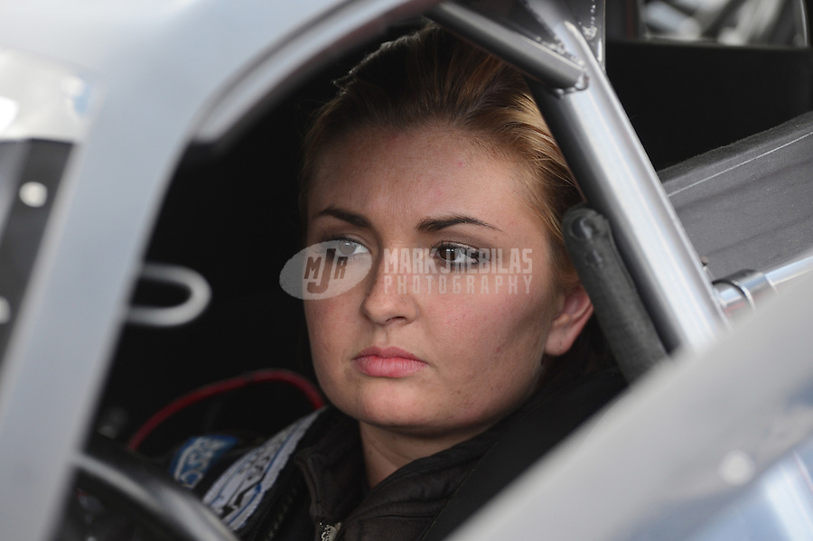 Apr. 15, 2012; Concord, NC, USA: NHRA pro stock driver Erica Enders during the Four Wide Nationals at zMax Dragway. Mandatory Credit: Mark J. Rebilas-