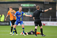 Solihull Moors captain, Kyle Storer contests a decision from referee, Richard Hulme during Barnet vs Solihull Moors, Vanarama National League Football at the Hive Stadium on 28th September 2019