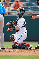 Bowie Baysox catcher Brett Cumberland (28) checks the runner during an Eastern League game against the Akron RubberDucks on May 30, 2019 at Prince George's Stadium in Bowie, Maryland.  Akron defeated Bowie 9-5.  (Mike Janes/Four Seam Images)