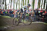 Gary Millburn (AUS/Peloton Sports) on the pump track<br /> <br /> Azencross Loenhout 2014