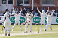 A huge appeal for LBW after Stephen Eskinazi of Middlesex CCC gets caught in front during Middlesex CCC vs Lancashire CCC, Specsavers County Championship Division 2 Cricket at Lord's Cricket Ground on 11th April 2019