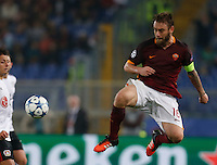 AS Roma's Daniele De Rossi jump for the ball during the Champions League Group E soccer match between As Roma and  Bayer Leverkusen at the Olympic Stadium in Rome, November 04 2015