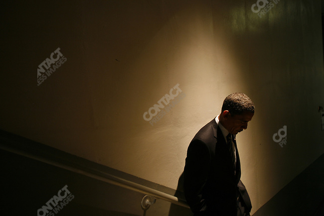 Senator Barack Obama, Democratic presidential candidate, backstage at the Roanoke Civic Center, where he hosted a rally with Senator Jim Webb (D-VA) and Congressman Rick Boucher (D-VA). Roanoake, Virginia, October 17, 2008. .