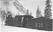 3/4 rear fireman's-side view of RGS #13 in snow near Pandora.<br /> RGS  Pandora, CO  Taken by Virden, Walter