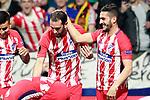 Atletico de Madrid's Angel Correa, Antoine Griezmann, Diego Godin and Koke Resurreccion celebrate goal during Europa League Quarter-finals, 1st leg. April 5,2018. (ALTERPHOTOS/Acero)