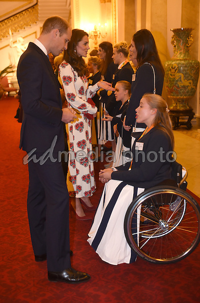18 October 2016 - London, England - Prince William and Princess Kate Duchess of Cambridge and Sarah Storey  Hannah Cockroft Prince William Duke Of Cambridge at a reception for Team GB and ParalympicsGB medallists from the 2016 Rio Olympic and Paralympic Games Buckingham Palace London. Photo Credit: Alpha Press/AdMedia