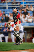 Erie SeaWolves catcher Jake Rogers (7) during a game against the Binghamton Rumble Ponies on May 14, 2018 at NYSEG Stadium in Binghamton, New York.  Binghamton defeated Erie 6-5.  (Mike Janes/Four Seam Images)