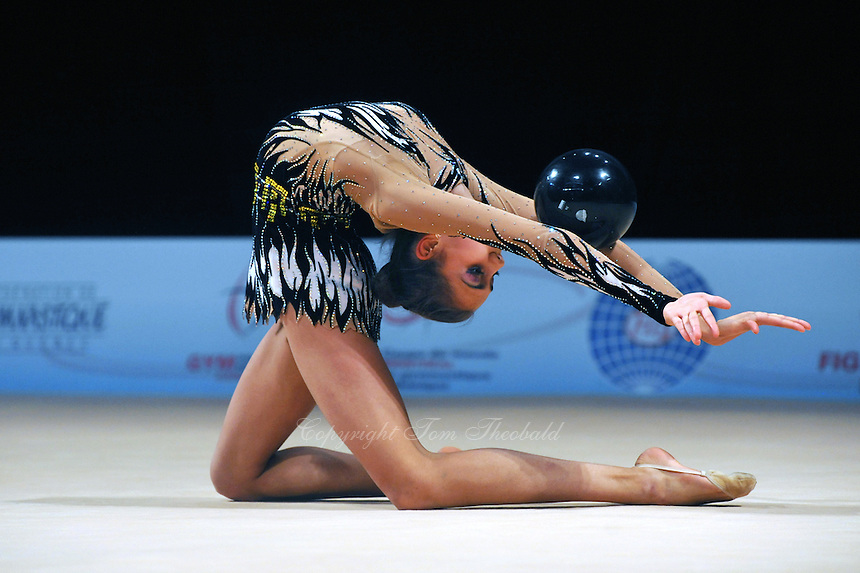 Margarita Mamun of Russia performs with ball during event finals at World Cup Montreal on January 30, 2011.  (Photo by Tom Theobald).