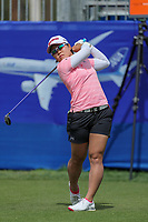 Nasa Hataoka watches her drive off of the 10th tee during Round 3 at the ANA Inspiration, Mission Hills Country Club, Rancho Mirage, Calafornia, USA. {03/31/2018}.<br />
