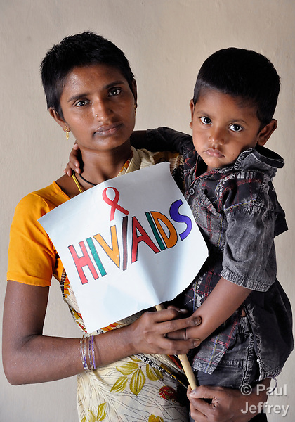 V. Lakshmi is an HIV positive woman who cares for her 4-year old son V. Shiva, who is also HIV positive. Both are members of the Hope Arpana Positive People Effective Network in Guntur, Andhra Pradesh, India. (See Special Instructions below.)