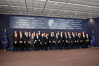 Pictured: Country leaders pose for a group picture Thursday 18 February 2016<br /> Re: David Cameron looks set to secure European Union deal on Britain's reforms during a summit in Brussels, Belgium.
