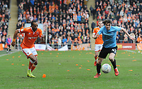 Blackpool's Nathan Delfouneso vies for possession with Southend United's Sam Hart<br /> <br /> Photographer Kevin Barnes/CameraSport<br /> <br /> The EFL Sky Bet League One - Blackpool v Southend United - Saturday 9th March 2019 - Bloomfield Road - Blackpool<br /> <br /> World Copyright © 2019 CameraSport. All rights reserved. 43 Linden Ave. Countesthorpe. Leicester. England. LE8 5PG - Tel: +44 (0) 116 277 4147 - admin@camerasport.com - www.camerasport.com