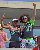 August 29, 2012: Stefan Kendal Gordy, aka Redfoo of LMFAO and Ayaka Okuno watching the Fish Vs Davydenko match at Arthur Ashe Stadium at the USTA Billie Jean King National Tennis Center in New York City. ..© mpi04 / Mediapunchinc /NortePhoto.com<br />