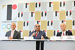 (L to R) <br /> Andrew Shelley, <br /> Narayana Ramachandran, <br /> Kazuya Kasahara, <br /> AUGUST 7, 2015 : <br /> World Squash Federation (WSF) <br /> holds a media conference following its interview <br /> with the Tokyo 2020 Organising Committee in Tokyo Japan. <br /> (Photo by YUTAKA/AFLO SPORT)