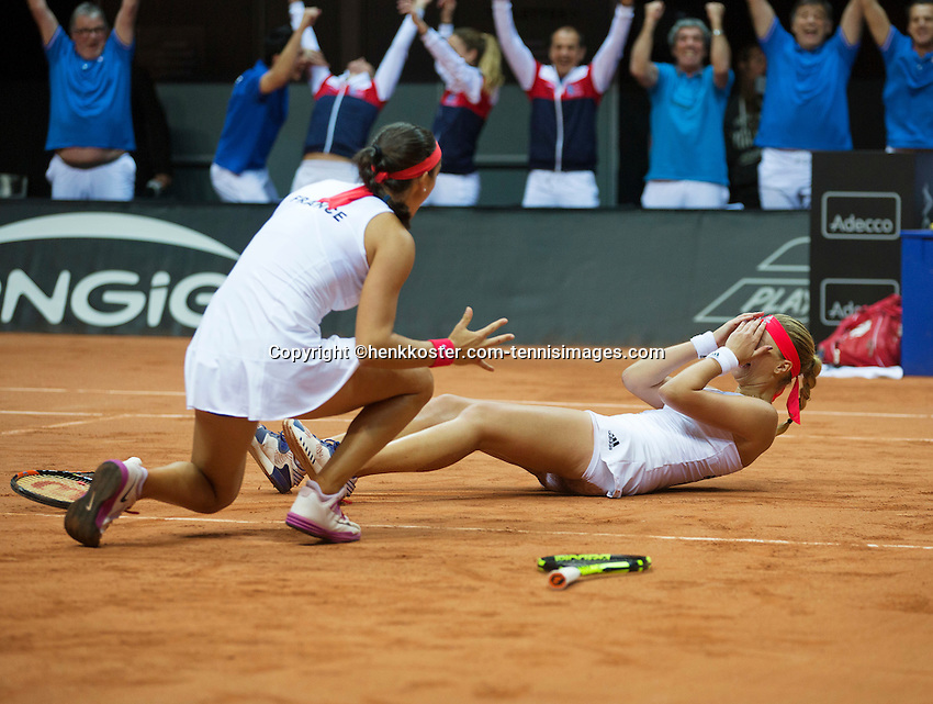 Arena Loire,  Trélazé,  France, 16 April, 2016, Semifinal FedCup, France-Netherlands, Doubles: Garcia (L) Mladenovic (FRA)  win the final point en de victory, French go to the final!<br /> Photo: Henk Koster/Tennisimages