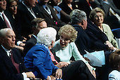 Former First Lady Barbara Bush and former first lady Nancy Reagan share a thought at the Republican National Convention in Philadelphia, Pennsylvania on August 1, 2000. <br /> Credit: Erik Freeland / Pool via CNP