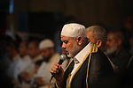 """Palestinian Prime Minister in Gaza Ismail Haniyeh leads a night prayer known as """"Tarawih"""" at a sit-in tent in Gaza city, solidarity with Egyptian soldiers who were killed on Rafah border between Egypt and the southern Gaza Strip, on 06 August 2012.  Media reports state that 16 Egyptian security forces were killed and seven others injured on 05 August when militants opened fire on a checkpoint and commandeered vehicles during a Ramadan fast in Rafah. Having hijacked the vehicles, they raced to the nearby Kerem Shalom/Karm Abu Salem crossing point on the Egypt-Israel-Gaza border. Egyptian authorities closed the border crossing with the Gaza Strip at Rafah indefinitely. Photo by Majdi Fathi"""