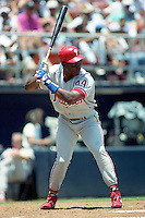 Philadelphia Phillies Wes Chamberlain (44) during a game against the San Diego Padres circa 1992 at San Diego Jack Murphy Stadium  in San Diego, California.  (MJA/Four Seam Images)